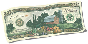 Slow Money whole dollar bill In Soil We Trust